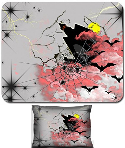Luxlady Mouse Wrist Rest and Small Mousepad Set, 2pc Wrist Support design Abstract postcard on Halloween with bats spider and black lock IMAGE: -