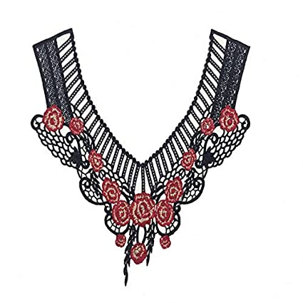 Craft Colorful Collar Venise Floral Embroidered Applique Trim Decorated Lace Neckline Sewing Blue