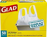 Glad Tall Kitchen White Handle-Tie Trash Bags, 13 Gallon, 50 Count (100 Count  - pack of 4)