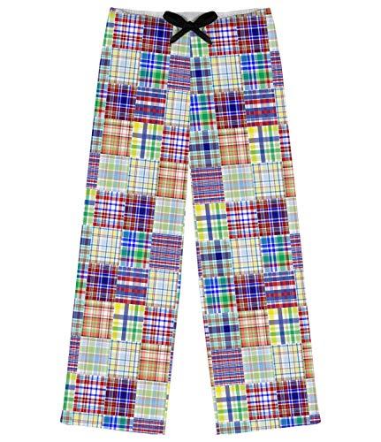Blue Madras Plaid Print Womens Pajama Pants - 2XL (Personalized) - Madras Plaid Pants