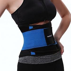 FeelinGirl Boost Workout Benefits Waist Trimmer Belt Target Abdominal Size S Blue