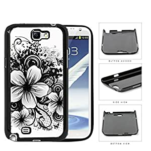 Black And White Floral Sketch Design Hard Plastic Snap On Cell Phone Case Samsung Galaxy Note 2 II N7100