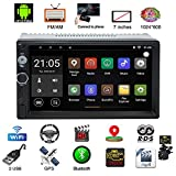 Parkomm 7 Inch Double Din Bluetooth Car Stereo with HD Touch Screen, Android 7.1 Car Stereo with GPS Navigation, Supports Mirrorlink/Bluetooth/BT/WIFI/AM/FM/USB Aux Input + Camera