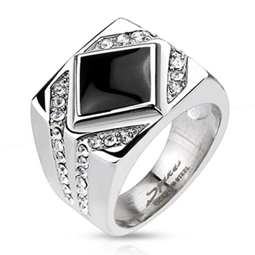 Paula & Fritz Ring in Stainless Steel Surgical Steel 316L with Diamond-Colored Onyx and Clear Zirconia - Size = 69 (22.0) - [R-H5592_13] by Paula & Fritz