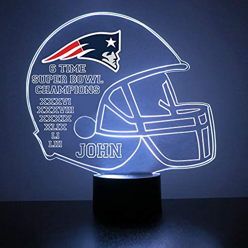 Mirror Magic Store Six Time Superbowl Champions New England Patriots Football Helmet LED Night Light with Free Personalization - Night Lamp - Table Lamp - Featuring Licensed Decal