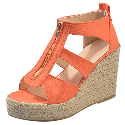 Yucode Women T-Strap with Zipper Wedge Platform Sandals Fashion Espadrille High Heels Office Lady Summer Shoes Orange 6 3/4 Inch Sexy Spike