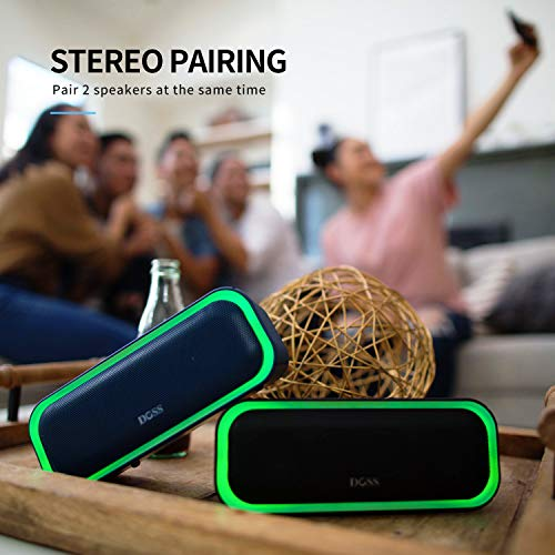 DOSS SoundBox Pro Portable Wireless Bluetooth Speaker with 20W Stereo Sound, Active Extra Bass, Wireless Stereo Paring, Multiple Colors Lights, Waterproof IPX5, 10 Hrs Battery Life - Blue