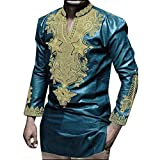 Allywit Blouse Mens, Hipster Hip Hop African Dashiki Graphic Long Sleeve Top Shirts