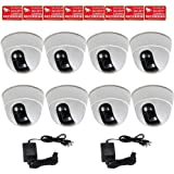 VideoSecu 8 x Built-in 1/3 Sony Effio CCD Dome Security Cameras 600TVL Wide Angle View Lens for CCTV DVR Home Surveillance System with 2 of 4 Channel Power Supplies and Security Warning Stickers CC5