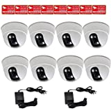 """VideoSecu 8 x Built-in 1/3"""" Sony Effio CCD Dome Security Cameras 600TVL Wide Angle View Lens for CCTV DVR Home Surveillance System with 2 of 4 Channel Power Supplies and Security Warning Stickers CC5 For Sale"""