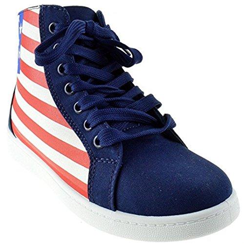 Kvinners Uformelle Klassiske Plattform Flat Blonder-up Fashion Oss Flagg Joggesko Rund Tå Oxford Gummisåle Boot Sko Amerikanske Flagg Usa