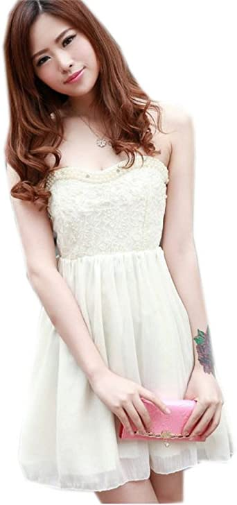 Amazon Com Full Beads Strapless Wedding Guest Dress Lace Dress Beige Medium Clothing,Used Wedding Dresses For Sale Uk