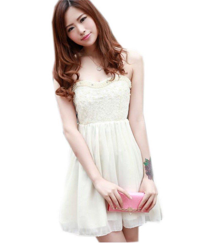 Full Beads Strapless Wedding Guest Dress Lace Dress Beige Medium
