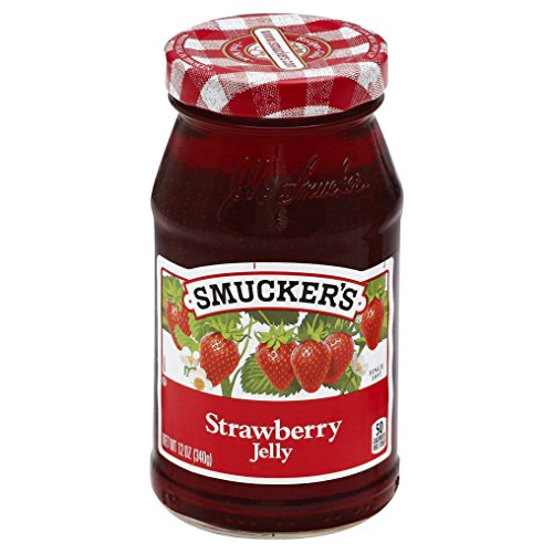 (Smuckers Strawberry Jelly, Made with Real FruitJuice, 12 oz Glass Jar (Pack of 1))