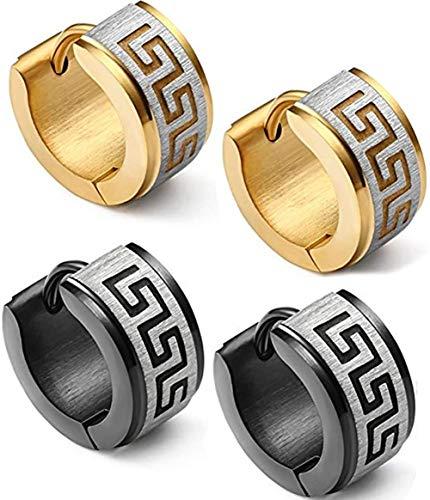 - Stainless Steel Hoop Earrings for Men Women Huggie Earrings Unique Greek Key (Gold&Balck)