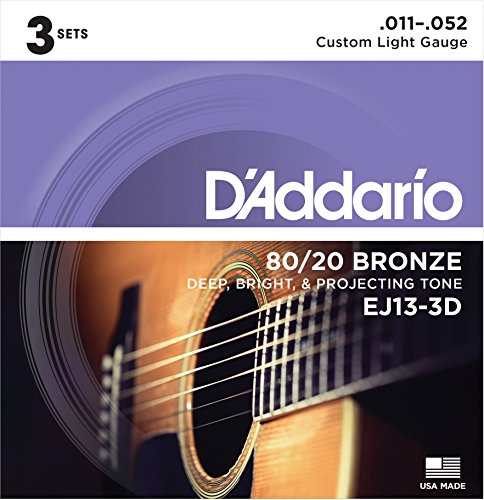 D'Addario EJ13-3D 80/20 Bronze Acoustic Guitar Strings, 11-52, 3 Sets, Custom Light