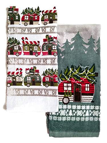 (Christmas RV Trailer Kitchen Dish Towels Decor - Bundle of 2)