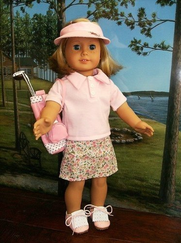 [Doll Clothes for American Dolls for Girls Pink Golf Set Outfit Includes Skort Shirt Ball Tee Visor 3 Clubs and Bag (9 Piece] (Figure Skating Halloween Costumes)