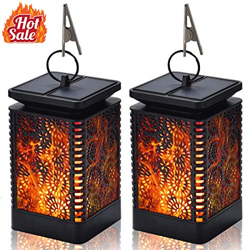Kithouse Solar Lantern Lights Outdoor Hanging Flame Light Solar Patio Garden Pathway Lights Outdoor Landscape Lighting Waterproof Lanterns Auto On/Off Night Light for Garden Patio Deck Yard Path