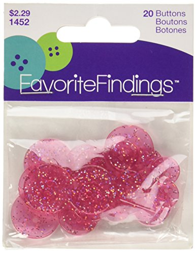 Twinkle Button (Favorite Findings Glitter Buttons-Pink Twinkle Transparent)