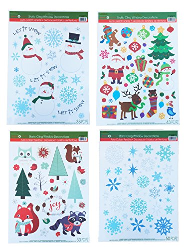 Christmas Window Clings - Christmas Static Window Cling Decorations - 4 Large Sheet Sets Featuring Santa, Snowmen, Snowflakes, Gingerbread Men, Reindeer and More