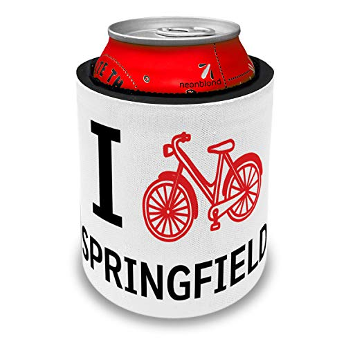NEONBLOND I Love Cycling City Springfield Slap Can Cooler Insulator Sleeve -