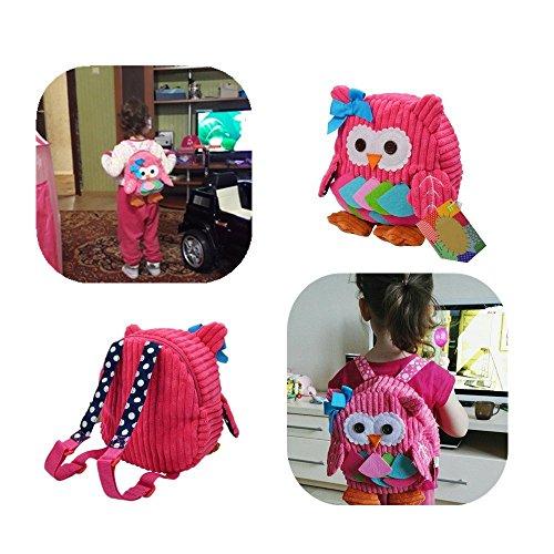 Luimode Babyrucksack Kindergartenrucksack kinder Rucksack Backpack Schultasche für 2-7Jahre Mädchen Jungen ,für Schule,Tier auswahlbar (Eule rosa) Eule Rosa