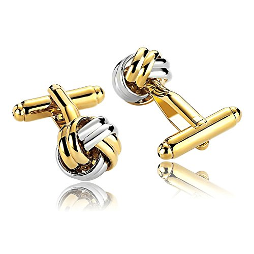 Two Tone Diamond Cufflinks - MoAndy Stainless Steel Cuff Links for Mens Fashion Knot Two Tone Gold Silver