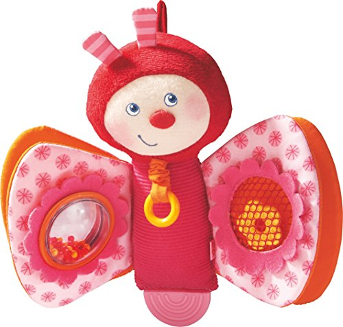 Haba Rattling Caterpillar - HABA Spring Butterfly Plush Play Figure with Rattling and Teething Elements