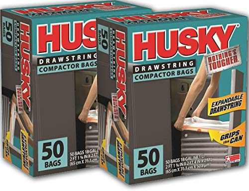 Poly-America Husky HK18XDS050W Drawstring Compactor Bag 50 ct, 18 Gallon 2-Pack ()