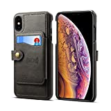 Leather Case for iPhone Xs Max 6.5 2018,Card Holder Pocket Kickstand Quality Sticking Protective Slim Soft Wallet Cover Shell-Black