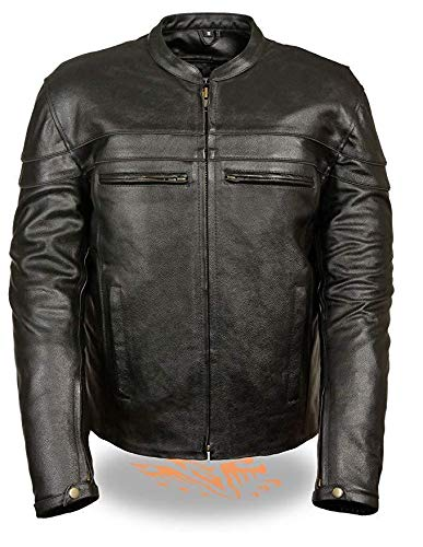 Milwaukee Leather LKM1725 Mens Sporty Crossover Leather Scooter Jacket with Gun Pocket - LG