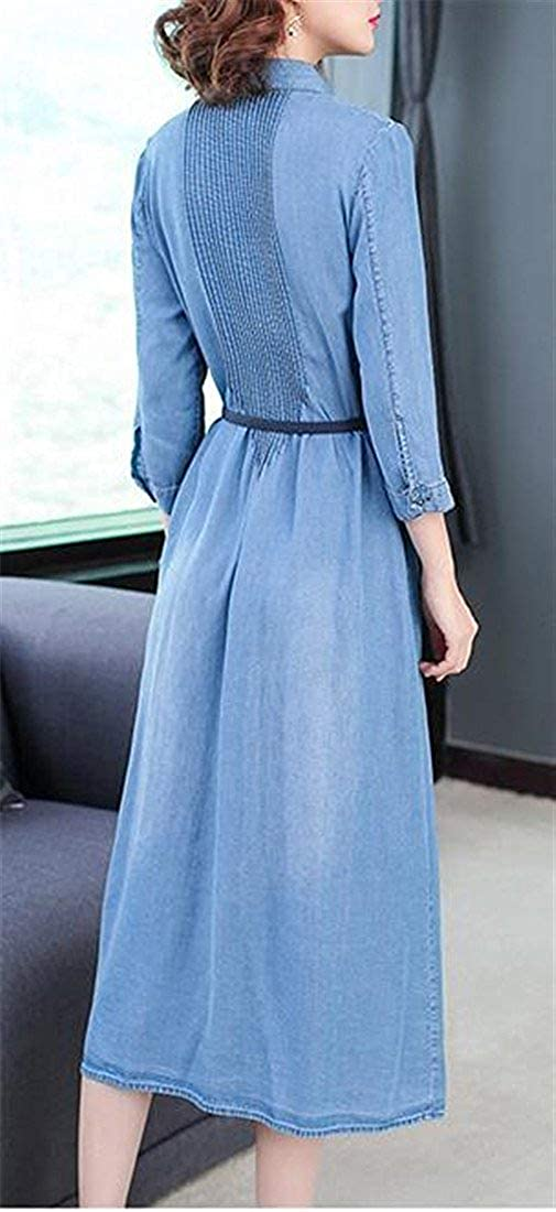 Miaohao Womens Casual Jean Denim 3//4 Sleeve Button Down Pleated Dress