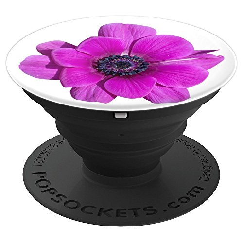 Purple Pink Plant Lady Garden Flower on White PS13755 - PopSockets Grip and Stand for Phones and Tablets