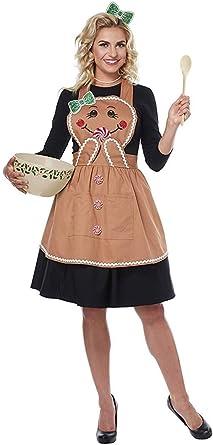California Costumes Delantal De Jengibre Para Mujer Disfraz De Adulto Talla única Color Marrón Delantal De Pan De Jengibre Disfraz Para Adulto Talla única Clothing