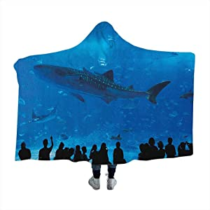 dsdsgog Hooded Blanket Shark,Japanese Aquarium Park with People Silhouettes Watching Underwater Life Hobby Image, Blue Black Flannel Soft Soft Warm Cozy Plush 80 x 60 Inch