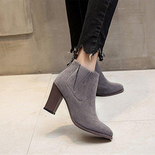 Brown Warm Black Fashion Black Block Winter in Women's Grey Boot Martin 8Txgw0qx5P