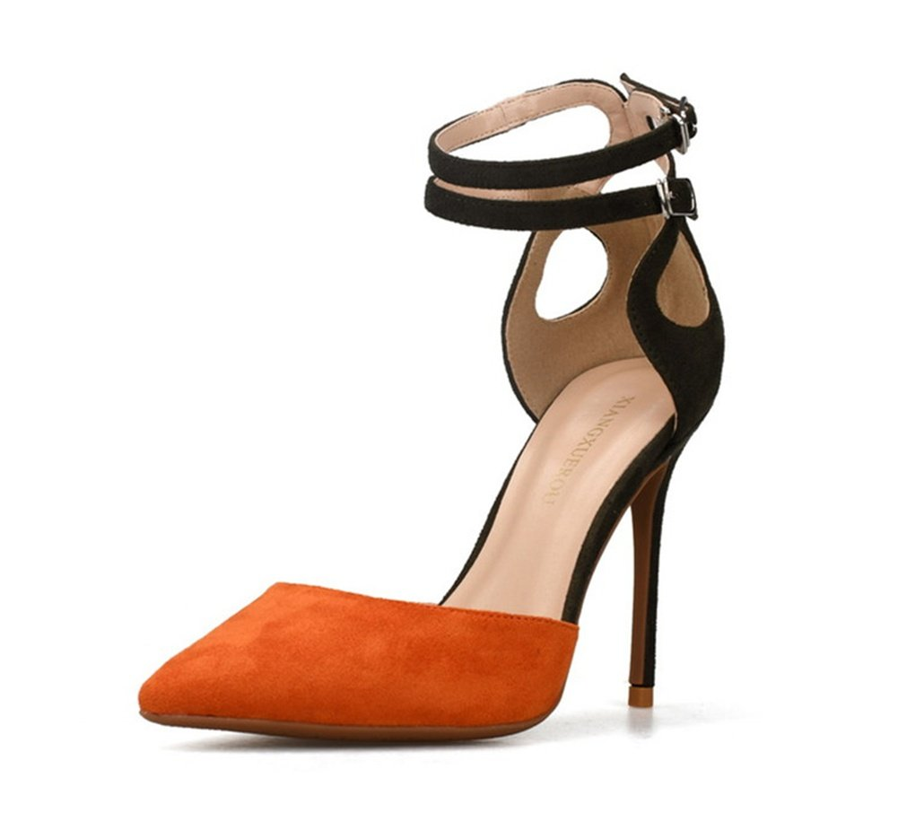 Damen Stilett Hoch Hacke Spitz Pumps Knöchel Doppelt orange Gurt Sandalen Party Gericht Schuhe orange Doppelt 3f4862