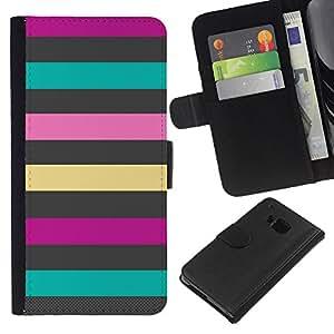 EJOY---La carpeta del tirón la caja de cuero de alta calidad de la PU Caso protector / HTC One M9 / --Líneas Patrón trullo Rosa Púrpura Verano