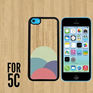 Pastel Color Circle Art Wood Custom made Case/Cover/skin FOR iPhone 5c -Black - Rubber Case ( Ship From CA)