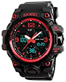Gosasa Big Dial Analog Digital Watches S Shock Men Military Army Wrist Watch 50M Waterproof Alarm Stopwatch Luminous Hands LED Sports Watch (Black Red)