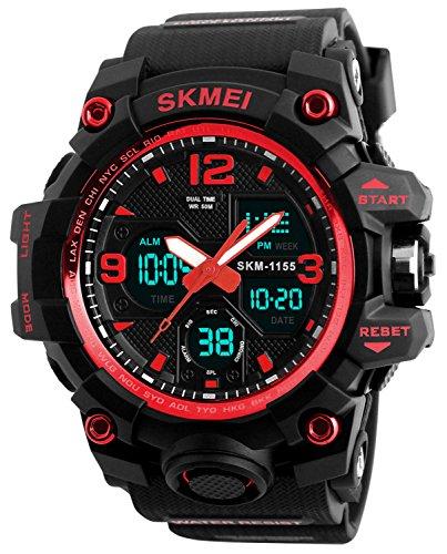 Men's Analog Digital Waterproof Sports Watch Military Multifunction Dual Time Stopwatch Alarm Back Light 50M Water Resistant Watch (Red) ()