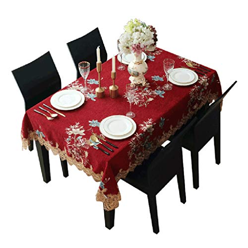 Red Magnet Rectangle (ZUOANCHEN Tablecloths Elegant Embroidery,Modern European Rustic Table Cover,Square/Rectangle Thanksgiving Christmas Dinner New Year Gift Seats 6 to 8 People (Color : Red, Size : 140240cm))
