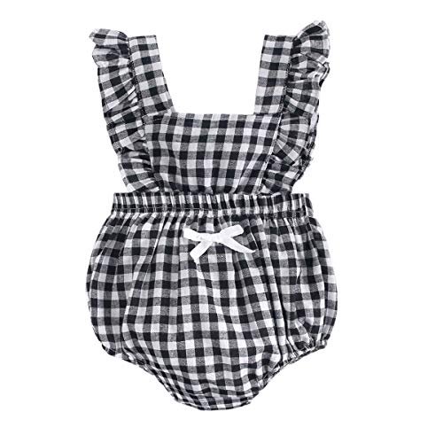 BubbleColor Baby Girl Plaid Romper Ruffle Sleeve Sleeveless Jumpsuit One Piece Cotton Bodysuit for Newborn Infant Toddler Outfit Princess Clothes (0-6 Months, Black)