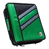 Case-it Z-Binder Two-in-One 1.5-Inch D-Ring Zipper Binders, Green, Z-176-GRE