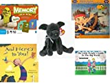 Children's Gift Bundle - Ages 3-5 [5 Piece] - Shrek Forever After Memory Game - Disney Jake and The Never Land Pirates Puzzle Toy - TY Beanie Baby - LUKE the Black Lab - And Here's To You. Hardcover
