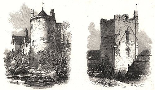 Lincoln. Somerton Castle; Temple Bruer. Lincolnshire - 1857 - old print - antique print - vintage print - printed prints of - Furniture Somerton Home
