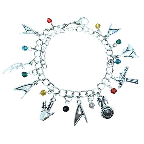 J&C Family Owned Star Trek 9 Logo Charms Lobster Clasp Bracelet w/Gift