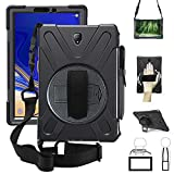 Galaxy Tab S4 10.5 2018 Case w/S Pen Holder,360 Rotatable w/Kickstand,Hand Strap & Shoulder Grip, 3 Layer Hybrid Heavy Duty Shockproof Cover for Samsung Tab S4 SM-T830/T835/T837 Tablet Black