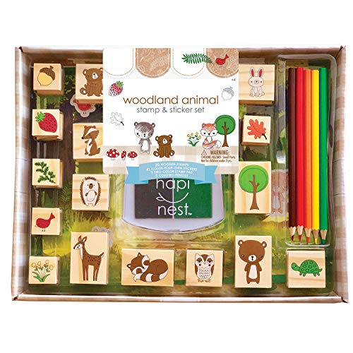 Hapinest Woodland Animal Wooden Rubber Stamp and Sticker Set for Kids, Arts and Crafts Gift